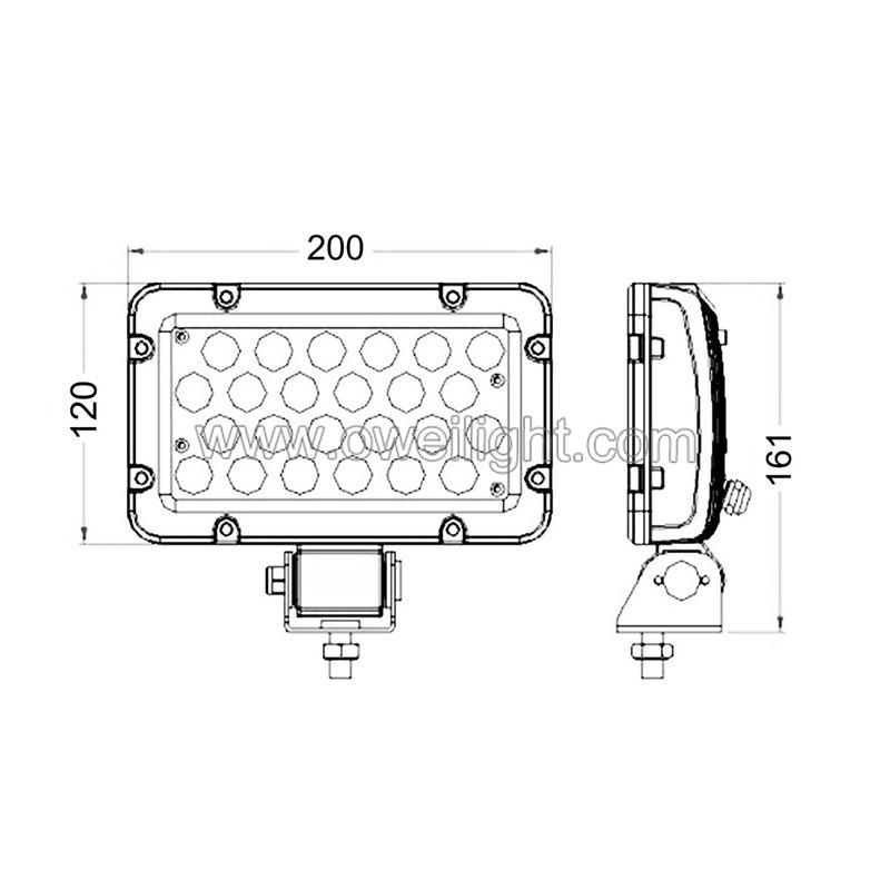 Rectangle 24W LED Work Light For JP Offroad ATV UTV Trucks excavator etc, White and black