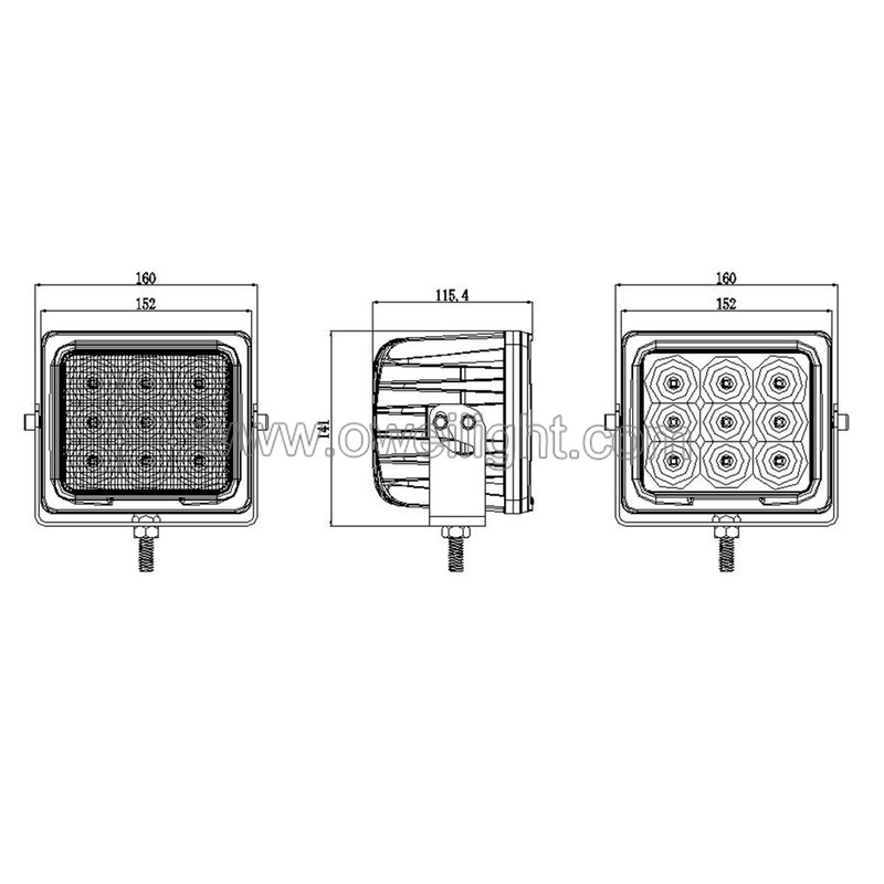 90w Super Bright Vehicle Working Lamps for Heavy Duty Industrial Trucks & Car IP68 CE approved