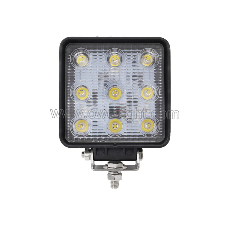 27W Square LED Road Work Lights For Trucks & Agricultural Machinery IP68