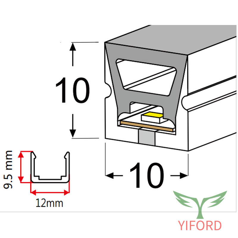 Silikon LED Neonstreifen 10 * 10mm Draufsicht