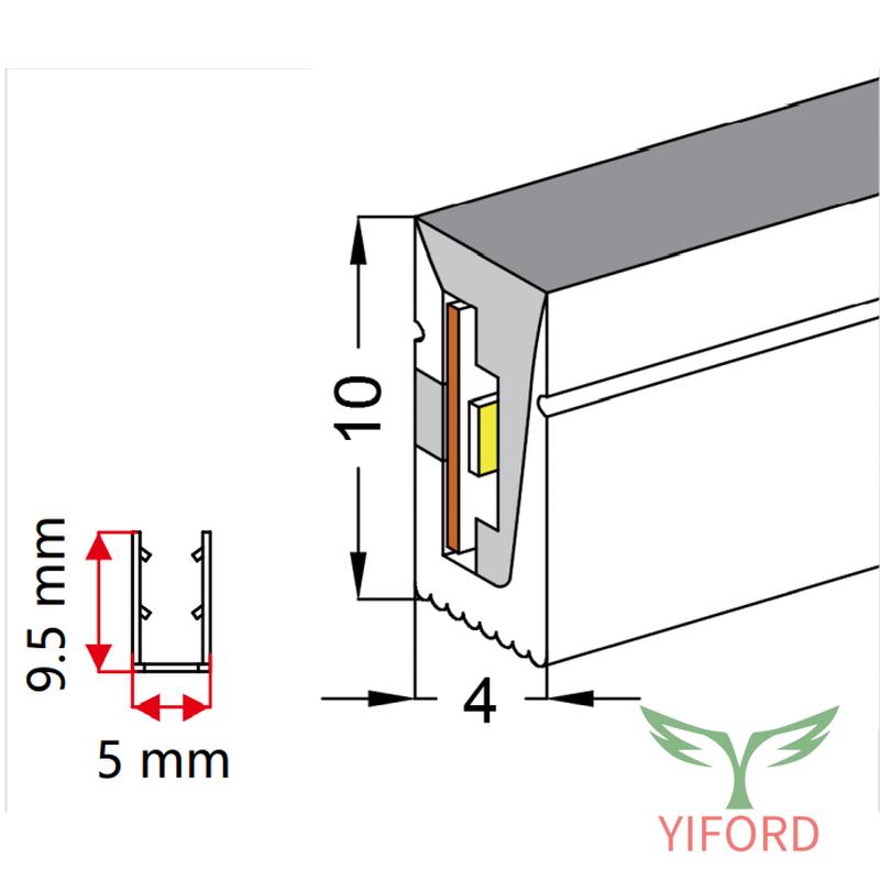 Силиконовая мини-светодиодная неоновая лента 4 * 10 мм, вид сбоку