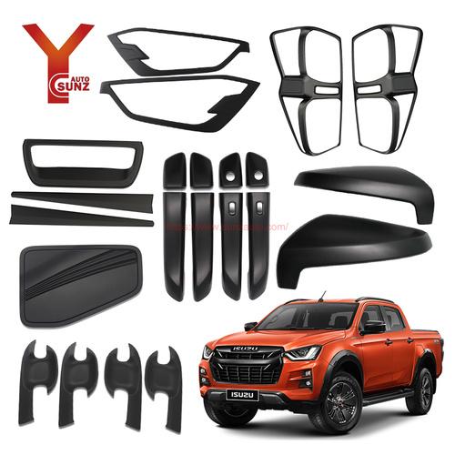 Full Set Matte Black Kits Accessories For Isuzu Dmax 2020 Garnish Set Car Accessories