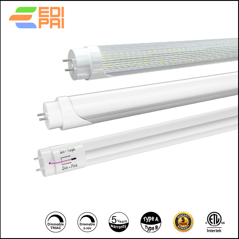 0-10V Dimming T8 LED TUBE Light 2ft 8W Type AB AL&PC 130lm/W 1040lm