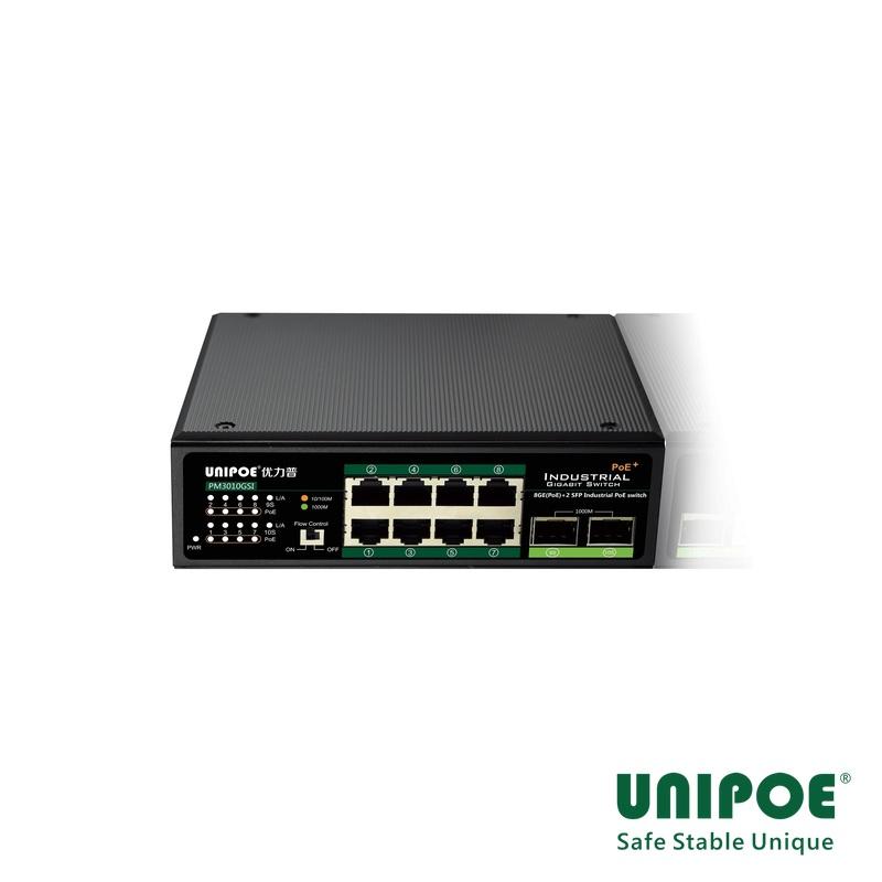 8-Port Gigabit+2G SFP Industrial PoE Switch(Support 802.3 af/at Standard)