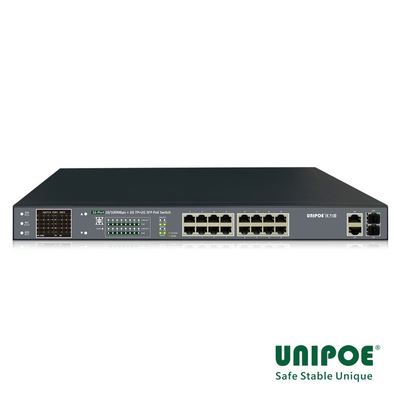 16*10/100Mbps +2GE+2G SFP Gigabit Uplink PoE Switch With V3 LCD Display (16-Port PoE,Support 802.3af/at Standard)
