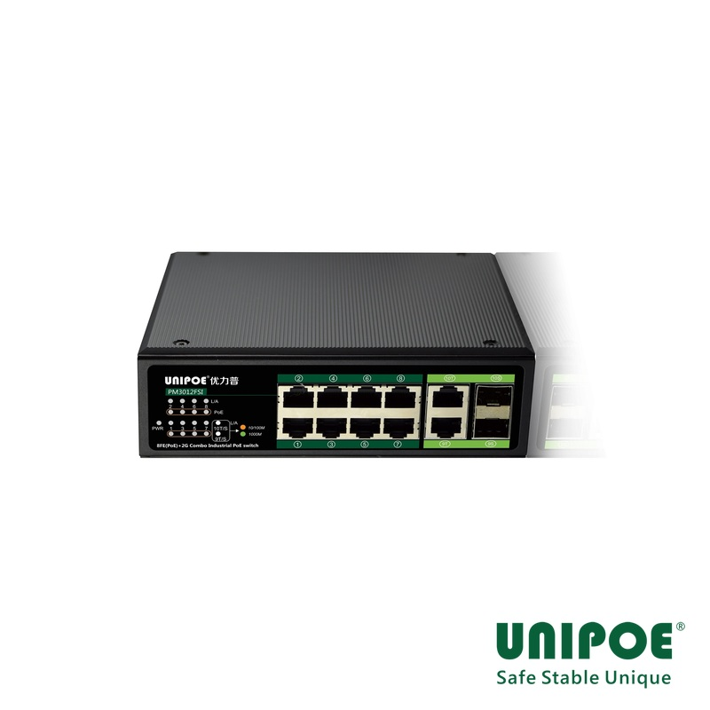 8*10/100Mbps+2G Combo Industrial PoE switch(Support 802.3 af/at Standard)