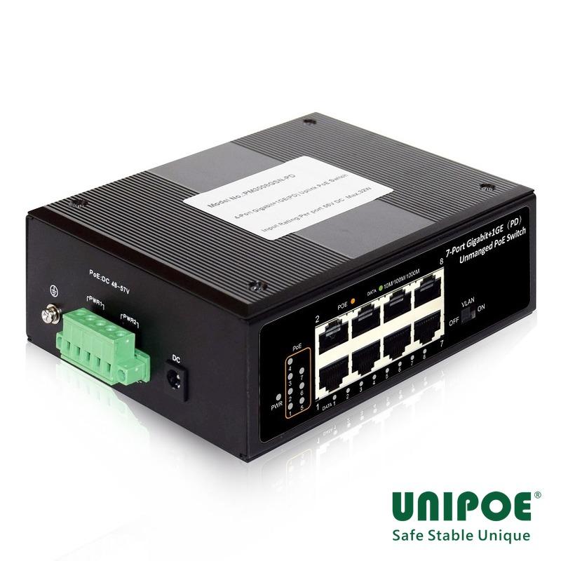 7-Port Gigabit+1GE(PD) Unmanaged PoE Switch