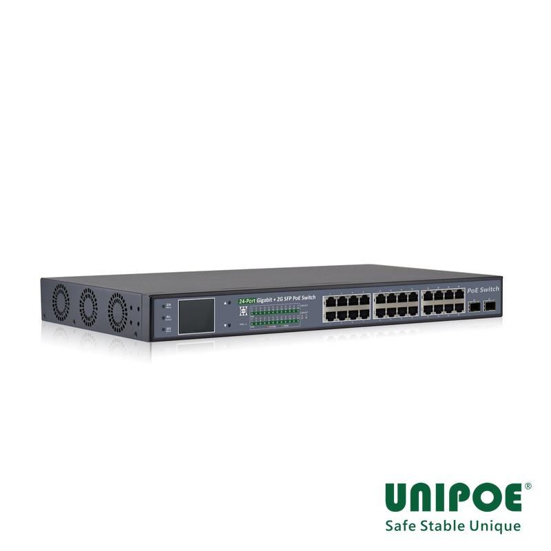 24-Port Gigabit+2G SFP PoE Switch With V3 LCD Display (24-Port PoE,Support 802.3af/at Standard)