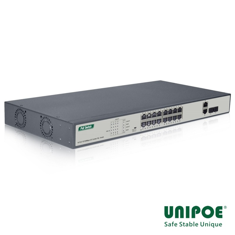 16*10/100Mbps+2G Combo PoE Switch