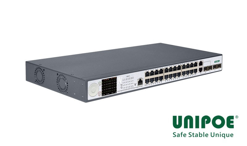 24-Port Gigabit+2G Combo+2G SFP+1Console LCD Display Managed PoE Switch(24-Port PoE, Support 802.3af/at Standard)