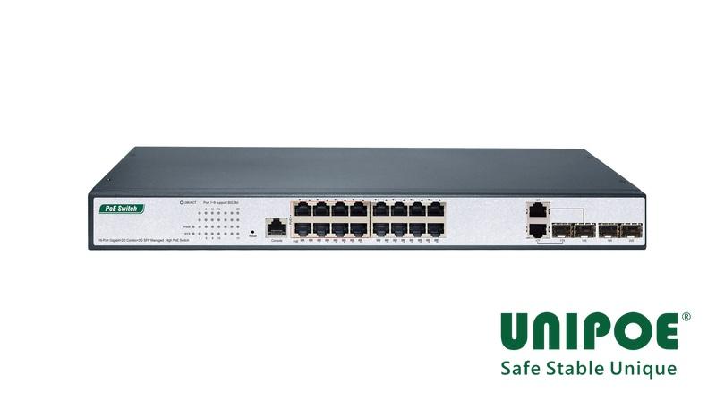 16-Port Gigabit+2G Combo+2G SFP+1Console Managed High PoE Switch(16-Port PoE, Port1-8 Support 802.3af/at/bt Standard, Port9-16 Support 802.3af/at Standard)
