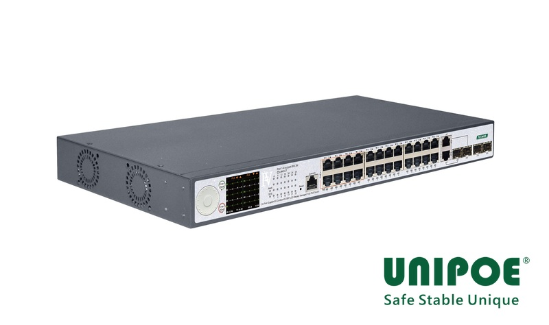 24-Port Gigabit+2G Combo+2G SFP+1Console LCD Display Managed High PoE Switch(24-Port PoE, Port1-8 Support 802.3af/at/bt Standard, Port9-24 Support 802.3af/at Standard)