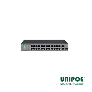 24*10/100Mbps+1G Combo+1GE PoE Switch