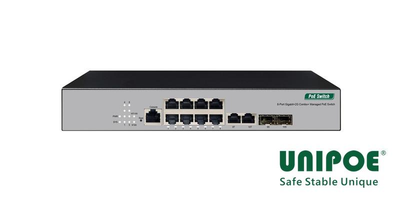 8-Port Gigabit+2G Combo Ethernet Managed PoE Switch(8-Port PoE, Support 802.3af/at Standard)