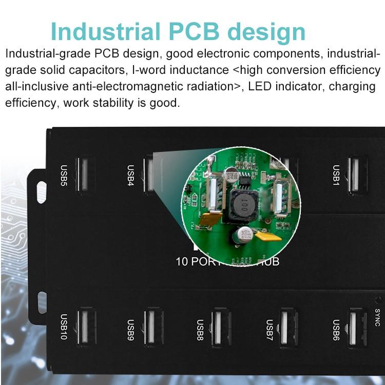 10 Port Charging and Sync USB HUB with Energy-Saving Master Chip