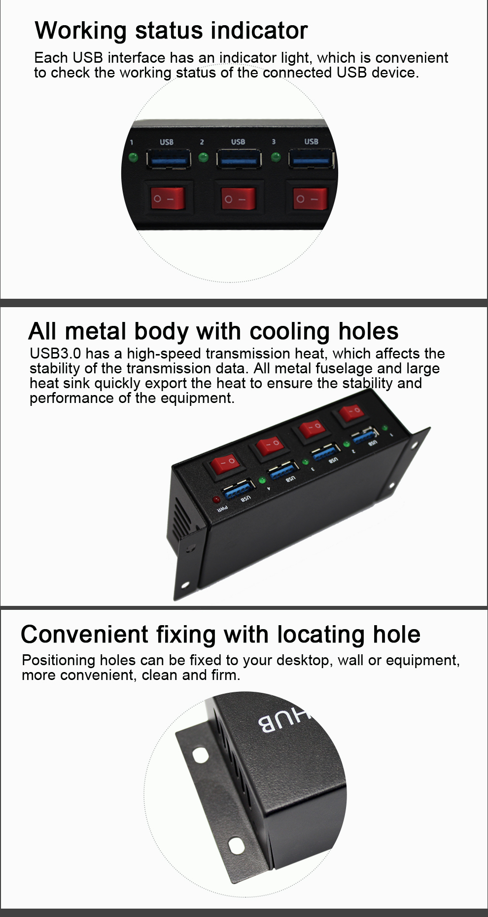 Shenzhen Factory USB Hub 3.0 with Control Switch Charging Dock Station 4 Port USB3.0 HUB for Laptop Computer