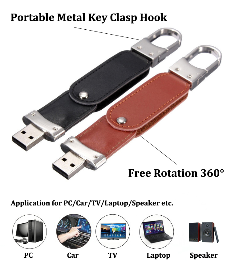 High Quality Smallest Leather USB 2.0 Flash Drive 8GB