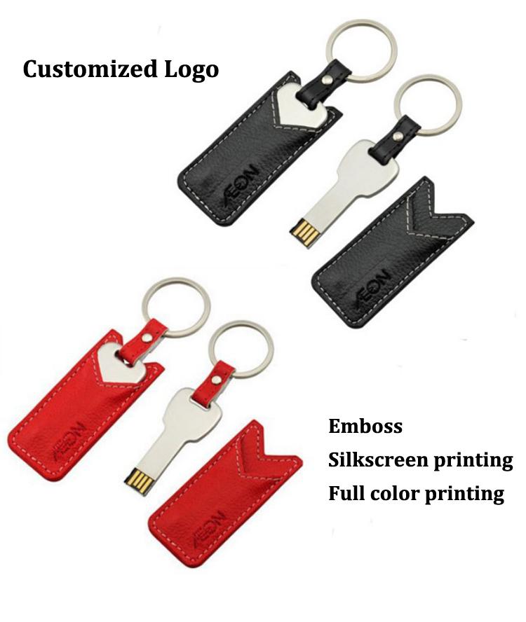 Keychain USB with Leather Case USB Flash Drive 32GB