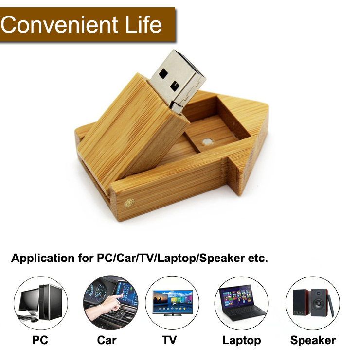 House Wooden USB Flash Memory 4GB Bamboo USB Flash Disk