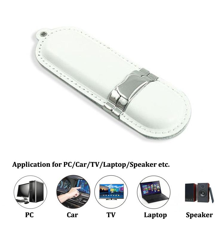White USB Flash Drives Leather USB 2.0 Flash Memory 2GB