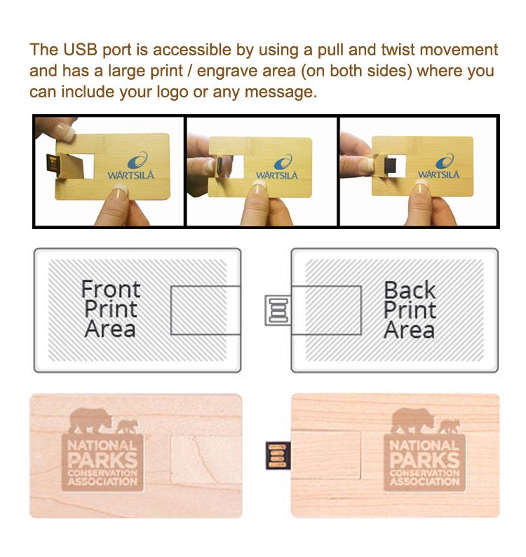 Wood Credit Card USB Flash Memory Disk 8GB