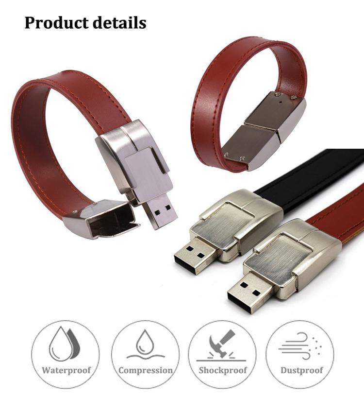 Leather Bracelet USB Flash Memory Leather Bracelet USB Flash Drive Leather USB Flash Key 16GB