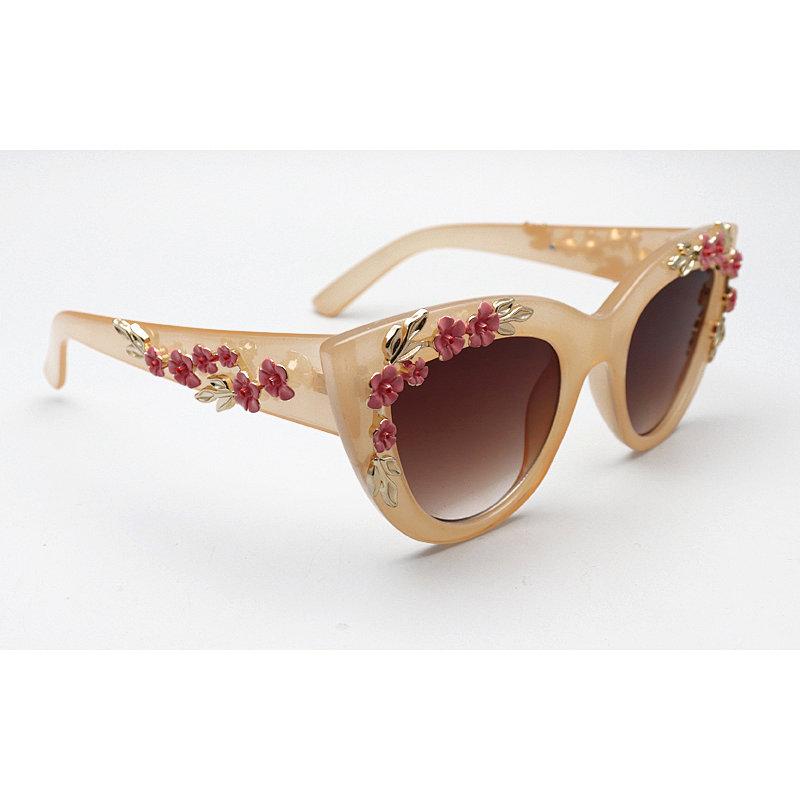 DTP18151 Cateye metal flower/floral decor enamel/rhinestone fashion sunglasses